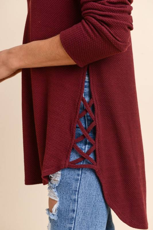 Burgundy Side Cut Out Thermal Top