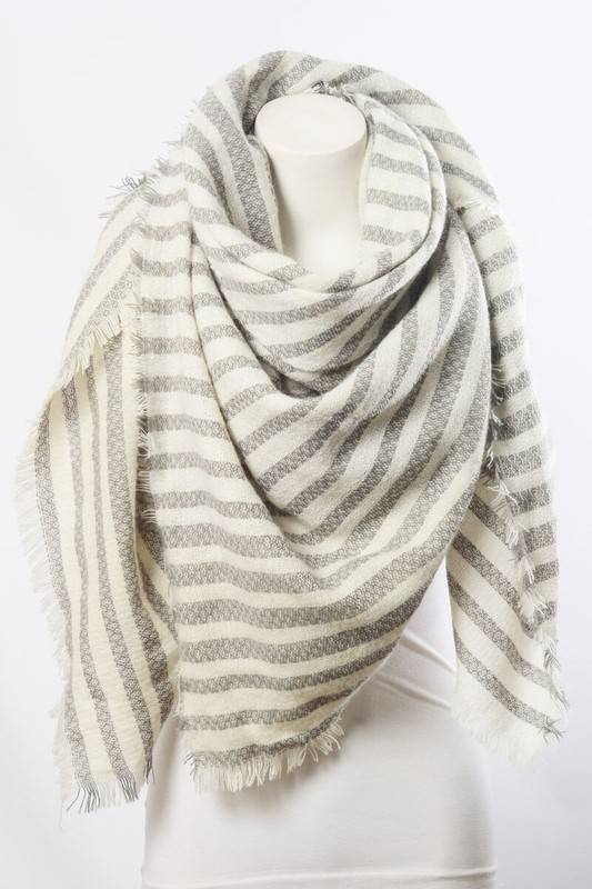 Grey Stripe Scarf