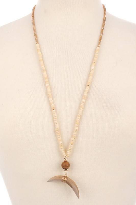 Beaded Crescent Mood Necklace