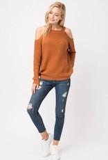 Camel Cold Shoulder Sweater
