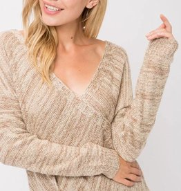 Oatmeal Cross Over Sweater