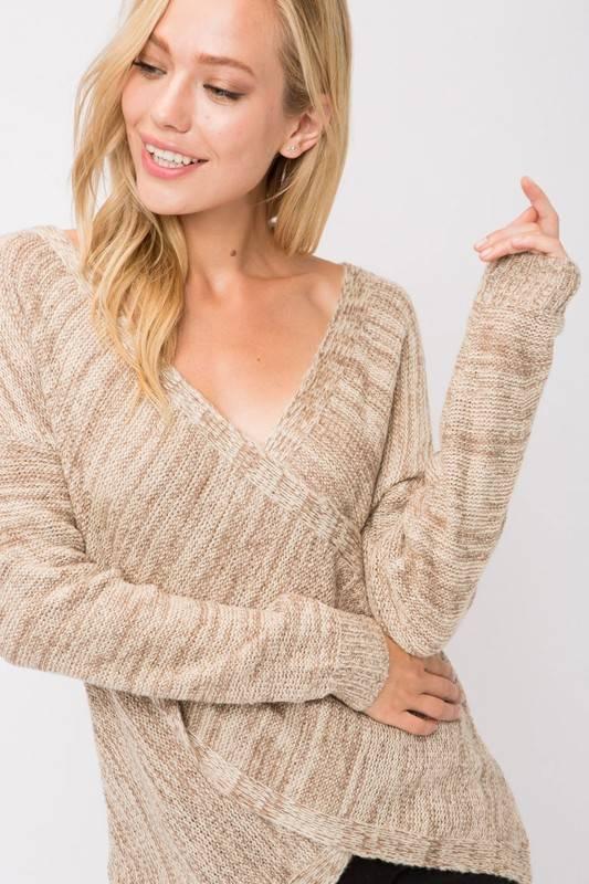 Oatmeal Cross Over Sweater