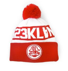 Bandit1sm Pom Beanie - White/Red