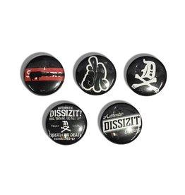 """DZT Button Pin Set - Black (Size 1"""")"""