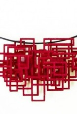 Melissa Borrell Red Square Pendant Necklace