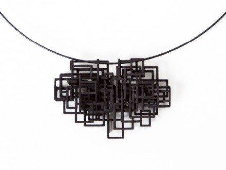 Melissa Borrell Black Square Pendant Necklace