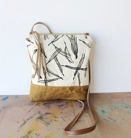 Weekday Crossbody Bag Black White Pine Needle Print
