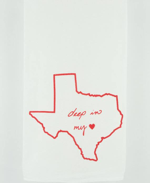 Deep In My Heart Texas Kimball Tea Towel