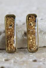 Gold Foil Bar Earring Purple Chickadee