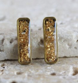 Gold Foil Bar Earring Purple Chickadee