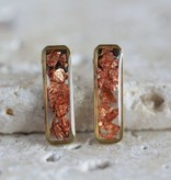 Copper Foil Bar Earring Purple Chickadee