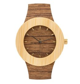 Analog Watch Co. Teak and Bamboo Wood Watch With Hour Markings