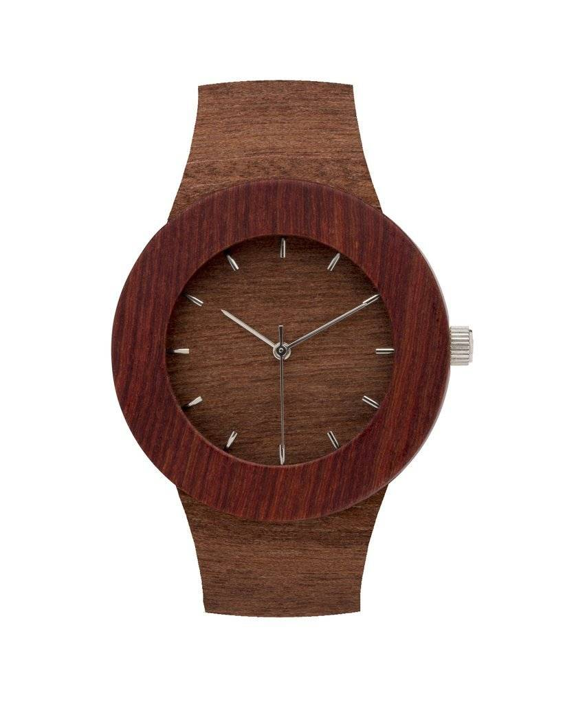 Analog Watch Co. Makore and Red Sanders Wood Watch With Hour Markings