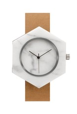 Analog Watch Co. White Marble Hexagon Mason Watch With Brown Strap