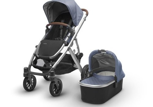 UppaBaby 2018 Uppa Baby Vista Stroller In Henry (Blue Marl/Silver/Saddle Leather)