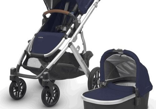 UppaBaby 2018 Uppa Baby Vista Stroller In Taylor (Indigo Matte/Silver/Saddle Leather)