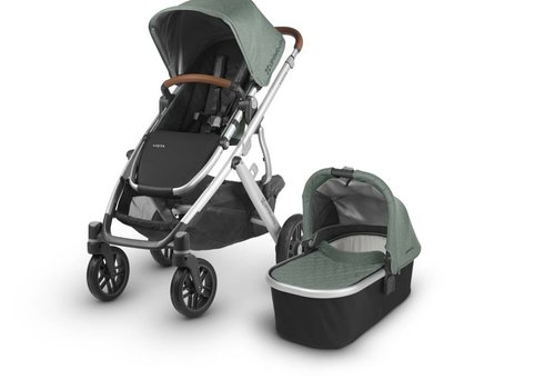 UppaBaby 2018 Uppa Baby Vista Stroller In Emmett (Green Mélange/Silver/Saddle Leather)