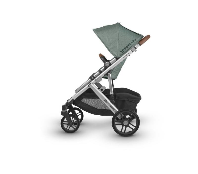 2018 Uppa Baby Vista Stroller In Emmett (Green Mélange/Silver/Saddle Leather)