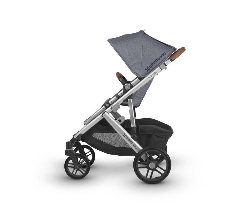 2018 Uppa Baby Vista Stroller In Gregory  (Blue Mélange/Silver/Saddle Leather)