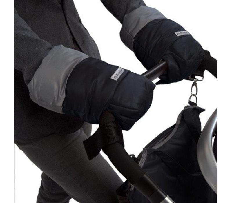 7 A.M. Enfant Handmuffs Warmmuffs Fleece Lined In Black-Gray