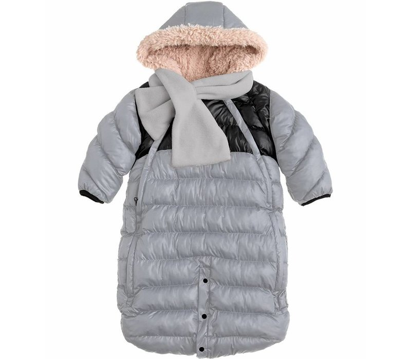 7 A.M. Snow Suit Bunting Doudoune Small In Gray-Black