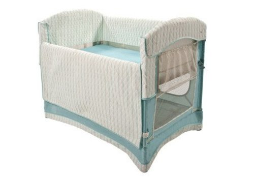 Arms Reach Arm's Reach Ideal Co-Sleeper Bedside Bassinet In French Blue Stripe With Skirt