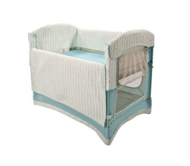Arm's Reach Ideal Co-Sleeper Bedside Bassinet In French Blue Stripe With Skirt