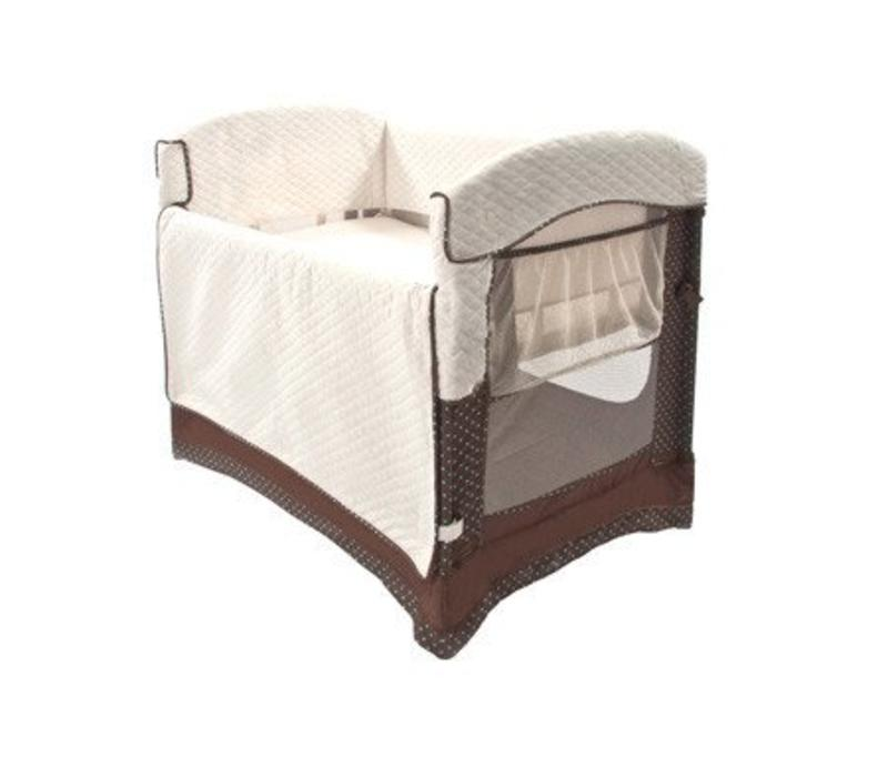 Arm's Reach Ideal Co-Sleeper Bedside Bassinet In Java Dot With Skirt