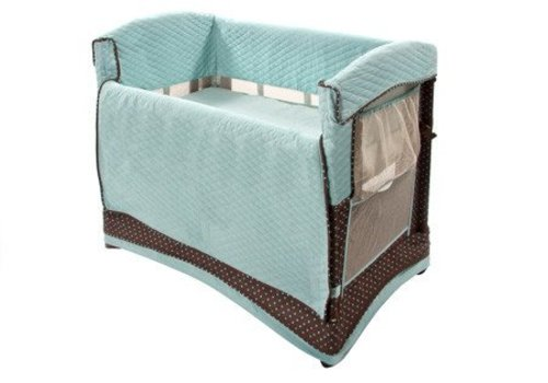 Arms Reach Arm's Reach Mini Arc Convertible Co-Sleeper In Java Dot With Skirt