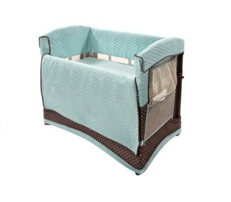 Arm's Reach Mini Arc Convertible Co-Sleeper In Java Dot With Skirt