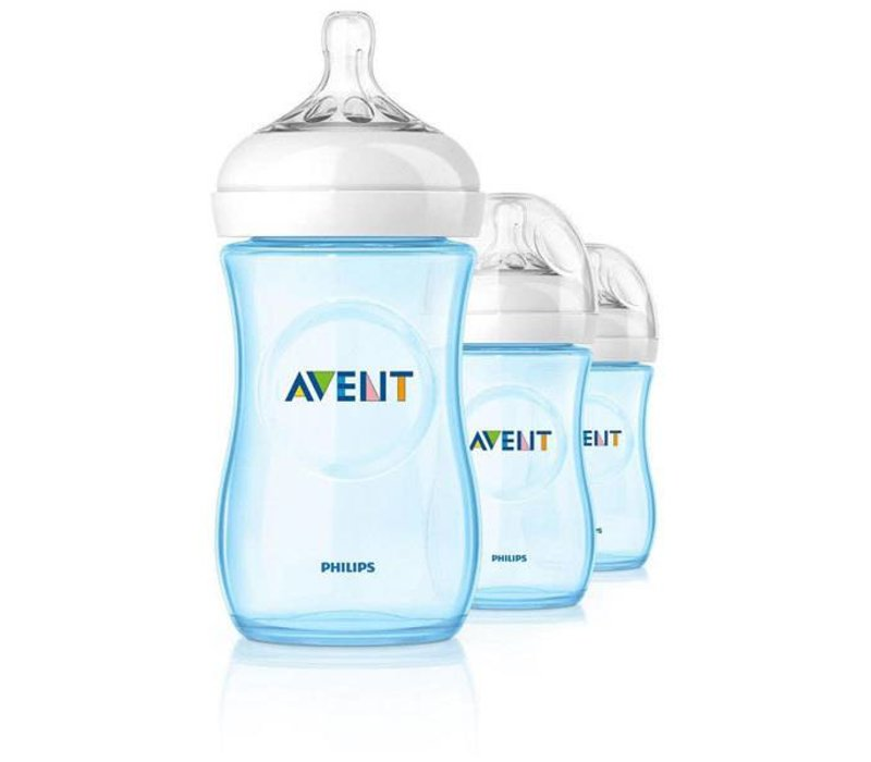 Philips Avent Natural 9 Ounce BPA Free Bottle, 3 Pack In Blue