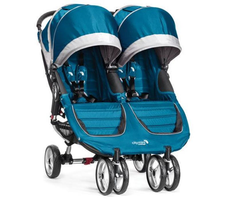 2017 Baby Jogger City Mini Double In Teal - Gray
