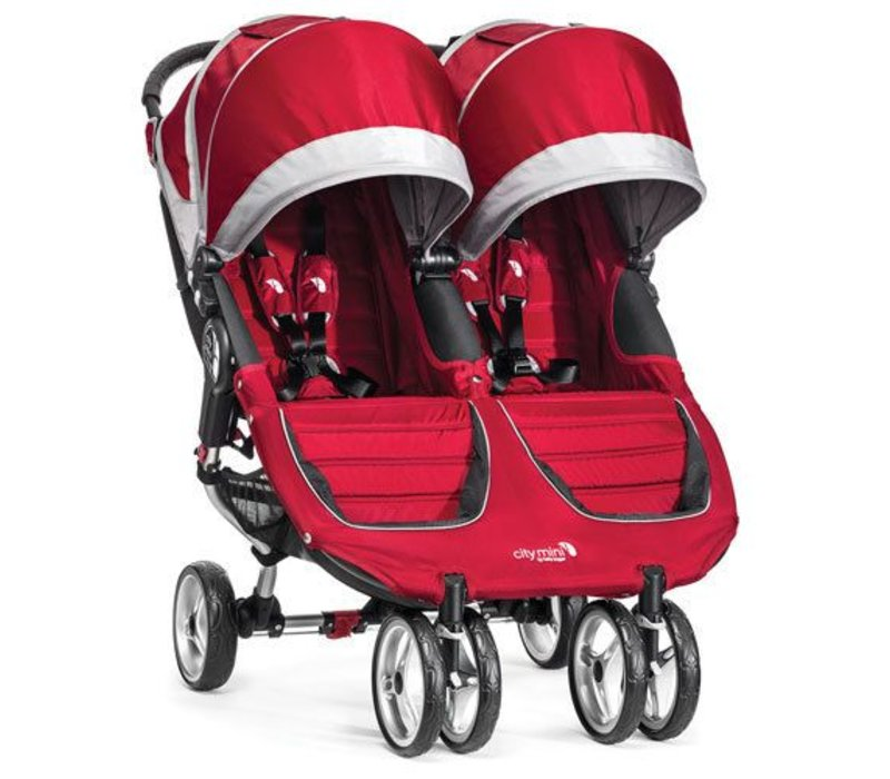 2017 Baby Jogger City Mini Double In Crimson- Gray