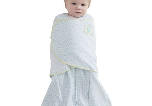 Halo HALO Sleepsack Swaddle 100% Cotton Blue Diamond Print Elephant Emroidered In NB