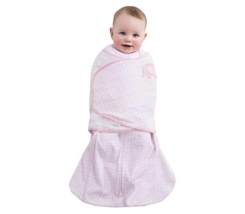 HALO Sleepsack Swaddle 100% Cotton Pink Diamond Print Elephant Emroidered In NB