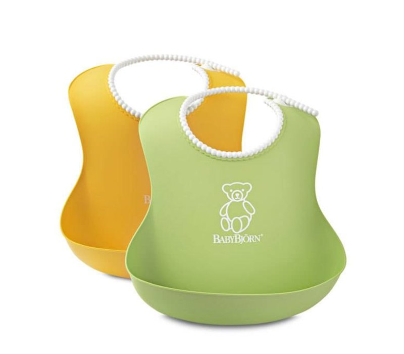 BABYBJORN Soft Bib Green and Yellow 2 Pk