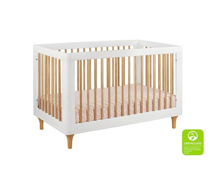 Baby Letto Lolly 3 In 1 Convertible Crib With Toddler Rail - White- Natural