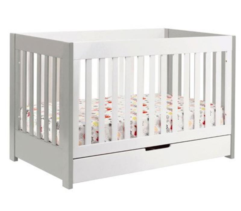 Baby Letto Mercer 3 In 1 Convertible Crib With Toddler Rail In White With Grey