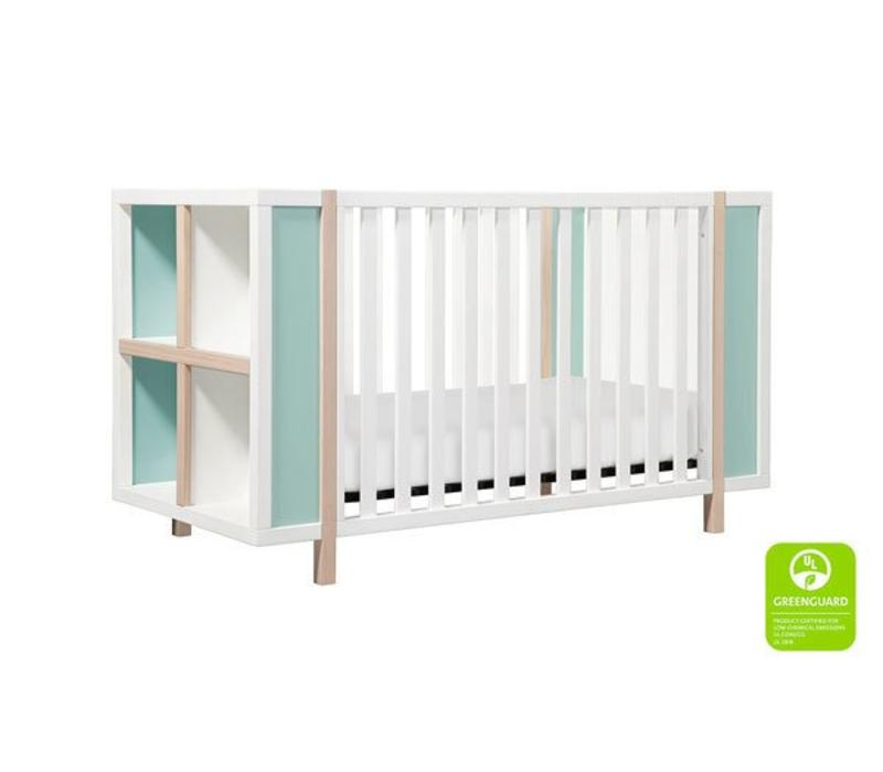 Baby Letto Bingo 3 In 1 Crib With Storage And Toddler Rail In White- Cool Mint