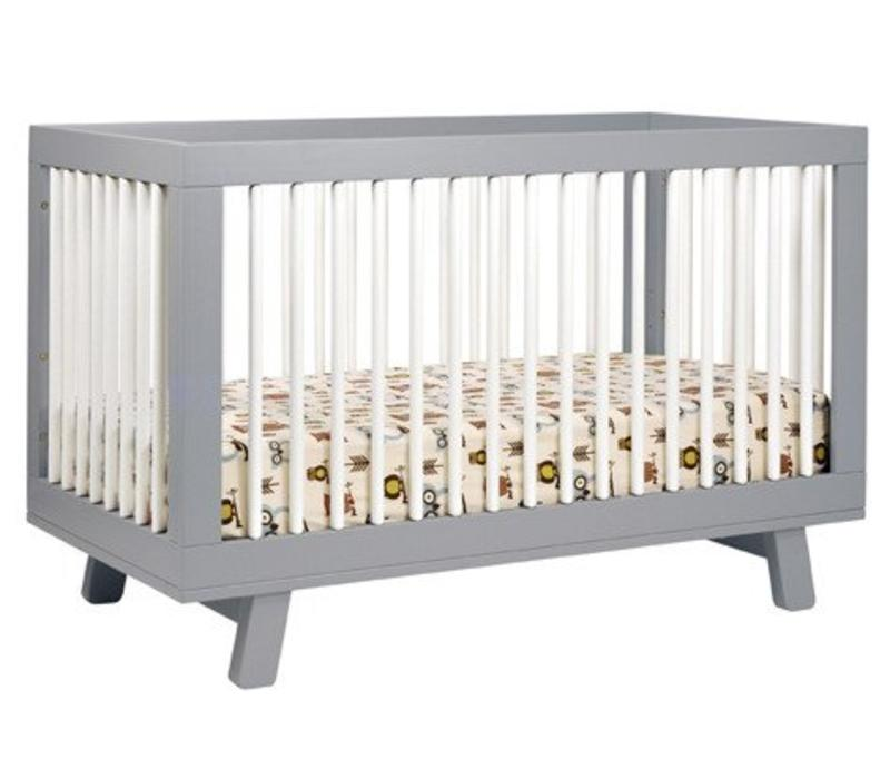 Baby Letto Hudson 3 In 1 Convertible Crib With Toddler Rail In White With Grey
