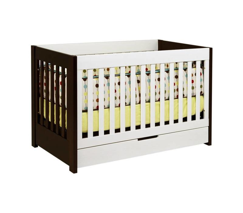 Baby Letto Mercer 3 In 1 Convertible Crib With Toddler Rail In White-Espresso