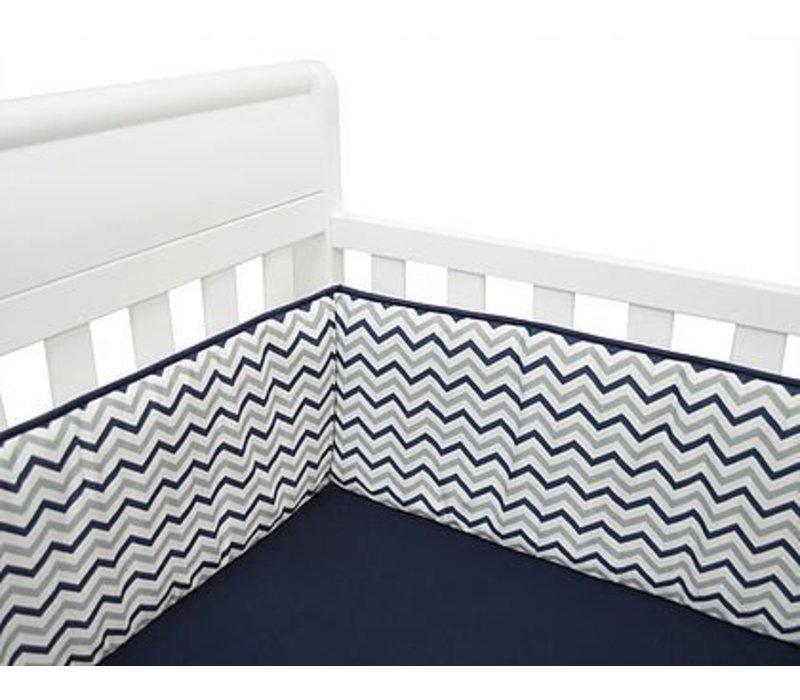 American Baby Crib Bumper In Navy Zig Zag