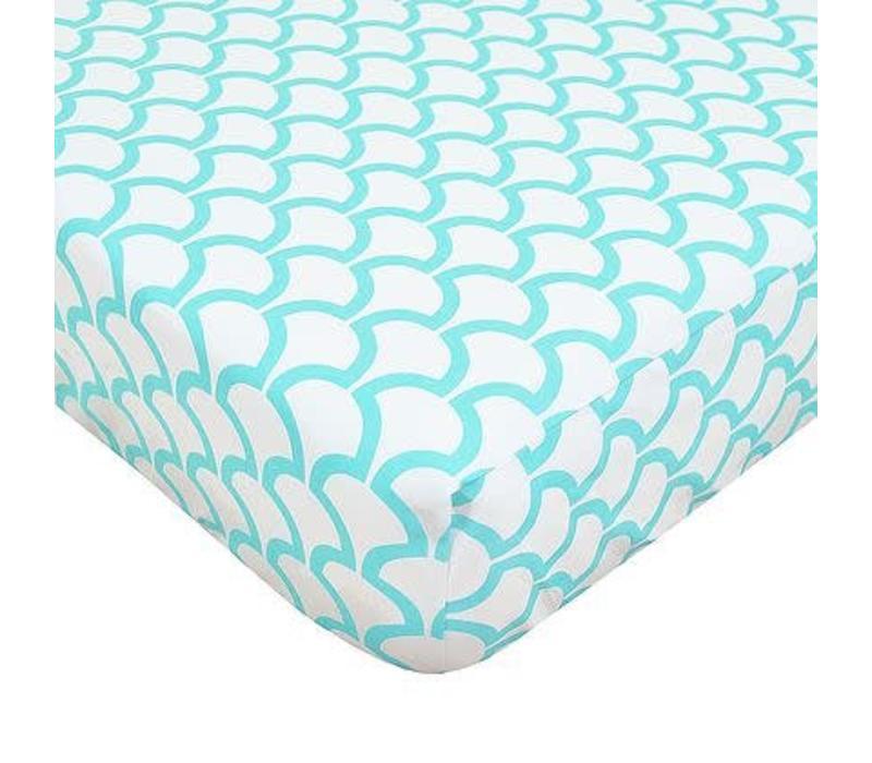 American Baby Percale Crib Sheet Aqua Sea Waves