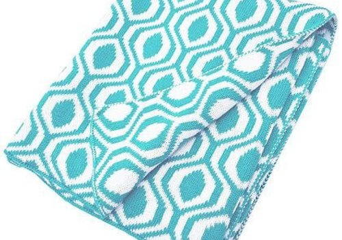 American Baby American Baby 100% Cotton Sweater Blanket In Aqua-Ogee