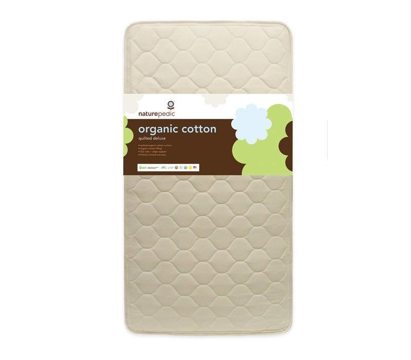 Naturepedic Crib Mattress Quilted Organic Cotton Deluxe 252 Coils