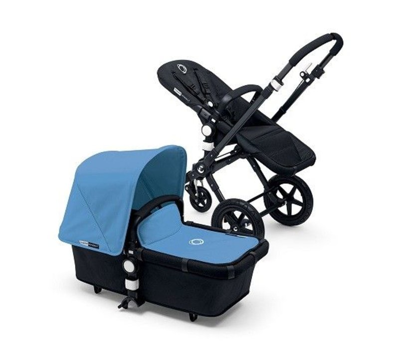 2017 Bugaboo Cameleon3 Base Black - Black Extendable Tailored Fabric In Ice Blue