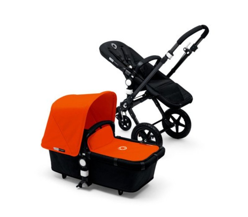 2017 Bugaboo Cameleon3 Base Black - Black Extendable Tailored Fabric In Orange