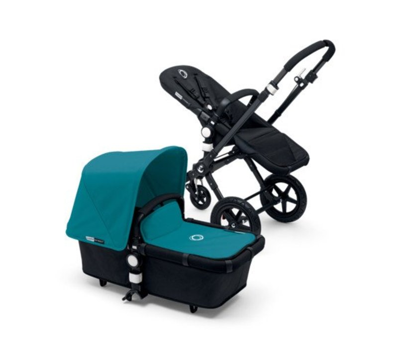 2017 Bugaboo Cameleon3 Base Black - Black Extendable Fabric In Petrol Blue