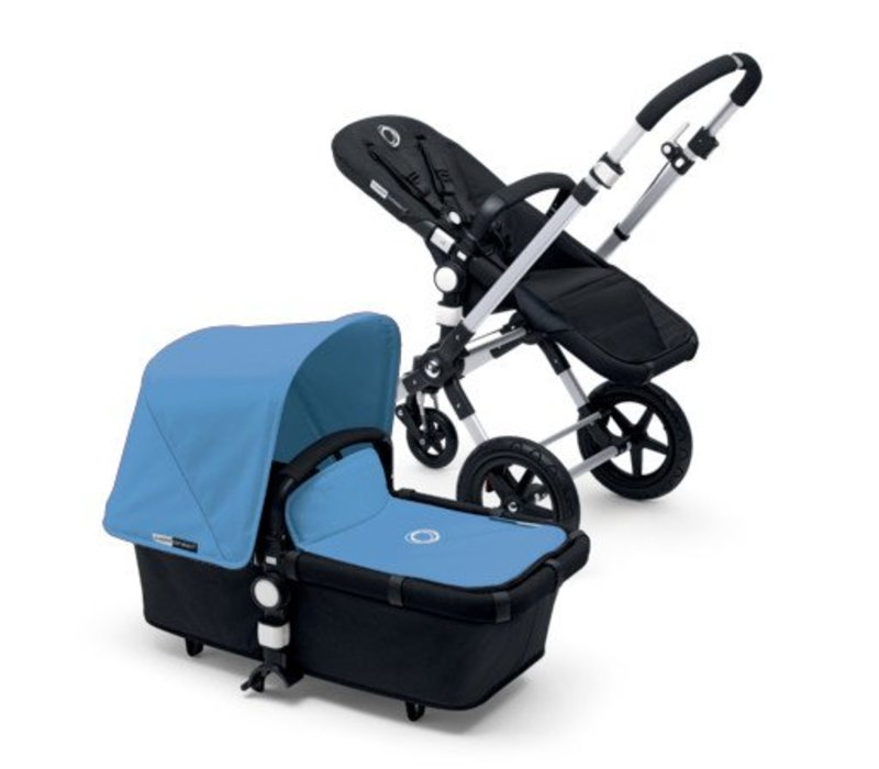 2017 Bugaboo Cameleon3 Base Aluminum- Black Extendable Fabric In Ice Blue
