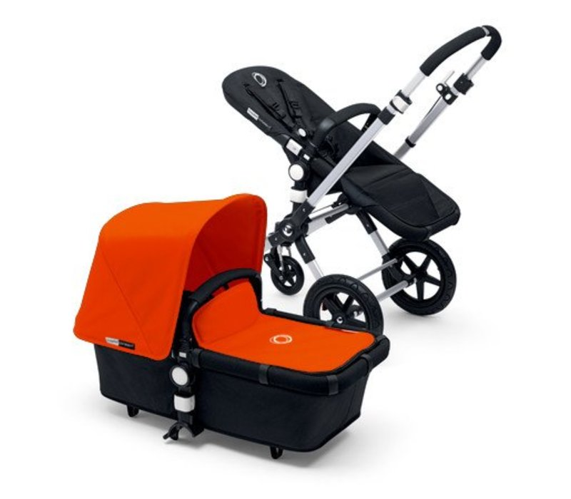 2017 Bugaboo Cameleon3 Base Aluminum- Black Extendable Tailored Fabric In Orange